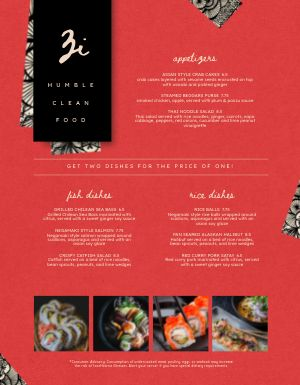 Thai Seafood Menu