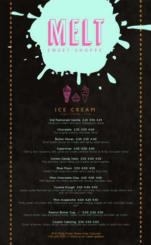 Ice Cream Shoppe Menu