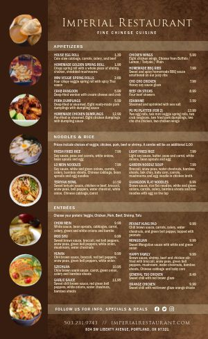 Oak Chinese Menu
