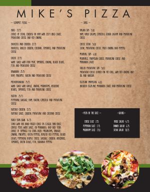 Greek Pizza Menu