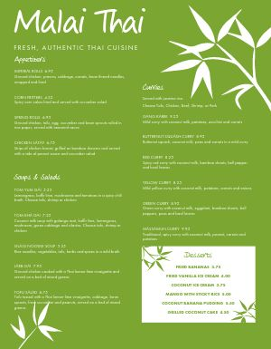 Fresh Thai Menu