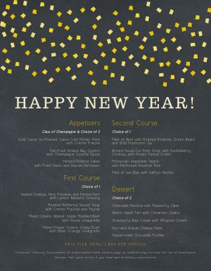 New Years Lights Menu