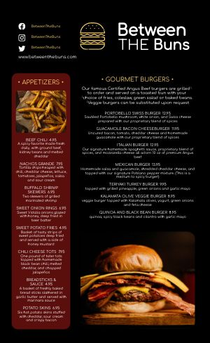 Dinner Burger Menu