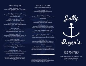 Navy Blue Seafood Takeout Menu