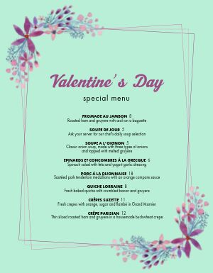 Elegant Valentines Day Specials Menu