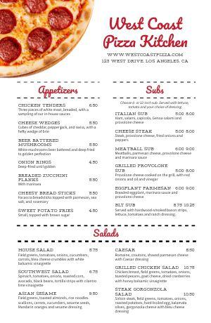 Pizza Kitchen Tabloid Menu