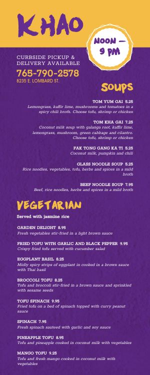 Thai Lite Takeout Menu