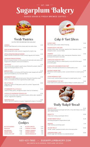 Red Bakery Menu
