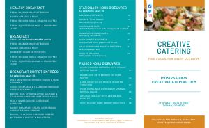 Colorful Catering Takeout Menu