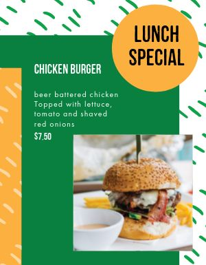 Chicken Burger Menu