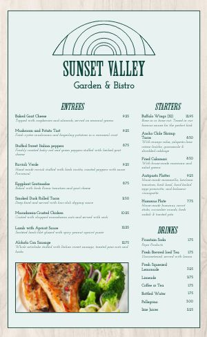 Cafe Valley Menu