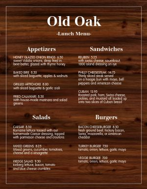 Oaken Family Menu
