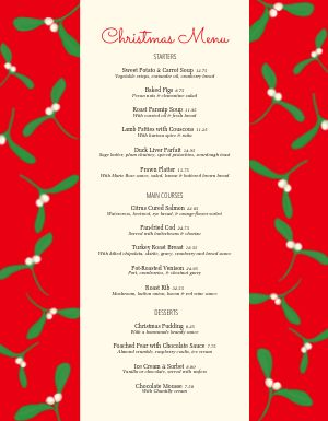 Christmas Blossoms Menu
