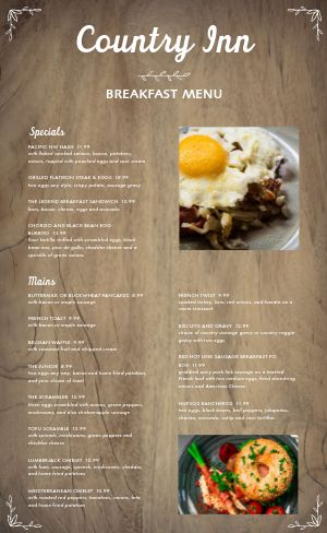 Eggs Breakfast Menu