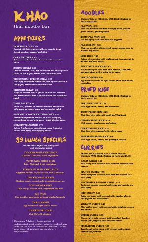 Purple Thai Menu