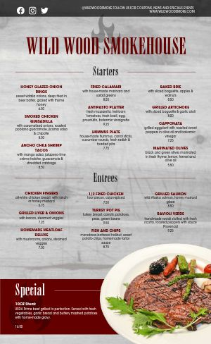 Smokehouse Family Menu