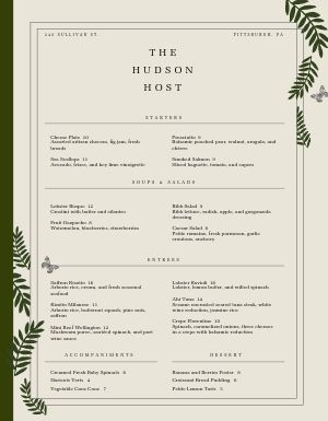 Decorative Fine Dining Menu