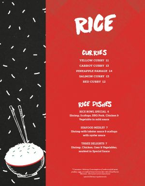 Asian Rice Menu