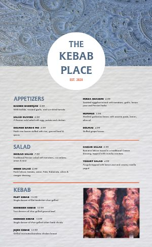 Middle Eastern Kebab Menu