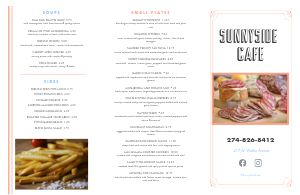 Sunshine Cafe Folded Menu