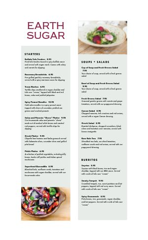 Upscale Vegan Menu