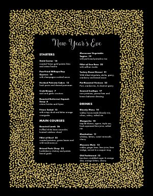 Golden New Years Menu