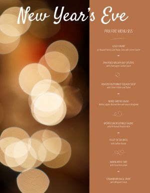 New Years Night Life Menu