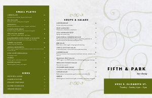 Fine Dining Establishment Folded Menu