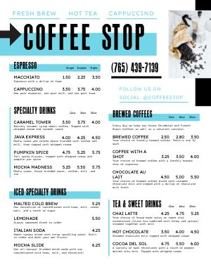 Casual Coffee Cart Menu Poster