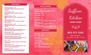 Abstract Indian Takeout Menu