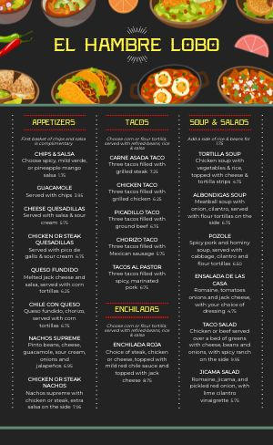 Cartoon Mexican Menu