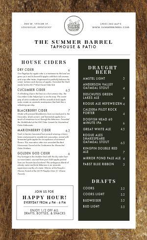 Wooden Beer Menu