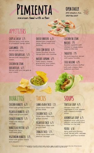 Pepper Mexican Menu