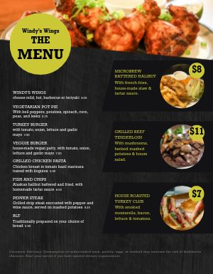 Family Wings Menu