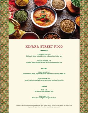 Indian Street Food Menu
