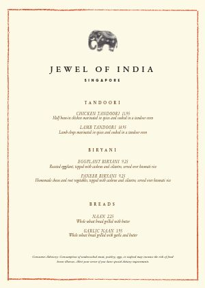 Authentic Indian A4 Menu