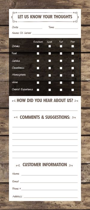 Wooden Comment Card