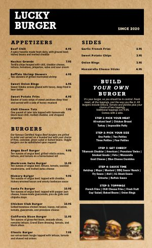Burger Dine In Menu