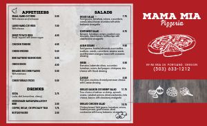 Red Border Pizza Takeout Menu