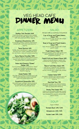 Green Vegan Menu