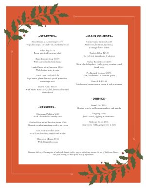 Christmas Holly Branch Menu