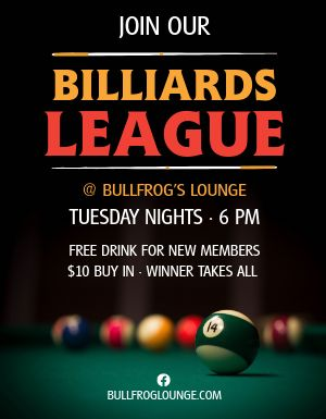 Billiards League Flyer
