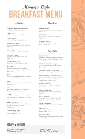 Peach Breakfast Menu