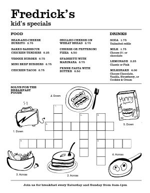 Kids Crossword Puzzle Menu
