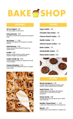 Bake Shop Dessert Menu