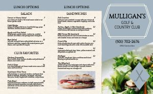Golf Country Club Takeout Menu Example