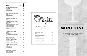 Wine Flight Folded Menu