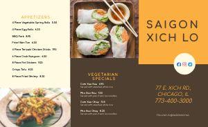 Example Vietnamese Cuisine Takeout Menu