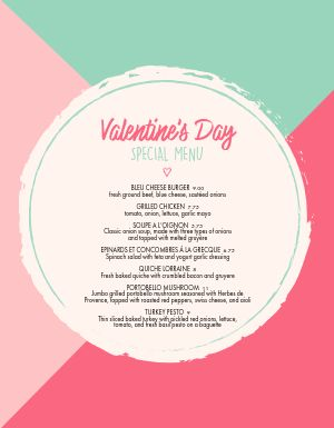 Colorful Valentines Day Specials Menu