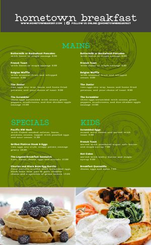 Breakfast Dining Menu